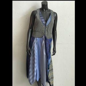 Upcycled Tie Dress Silk Neck Ties duster vest